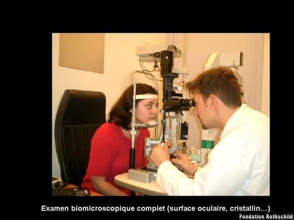Examen biomicroscopique (lampe à fente)