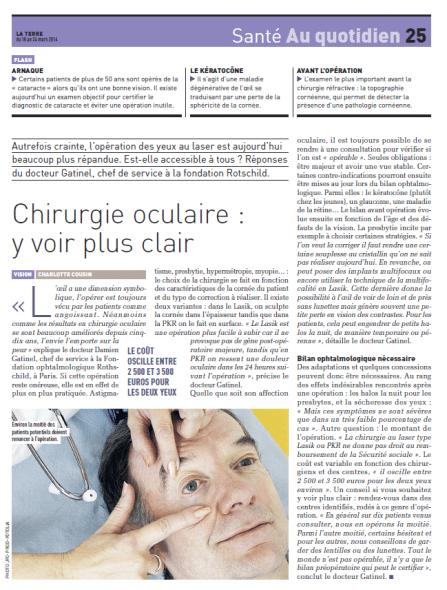 Magazine La Terre Chirurgie oculaire