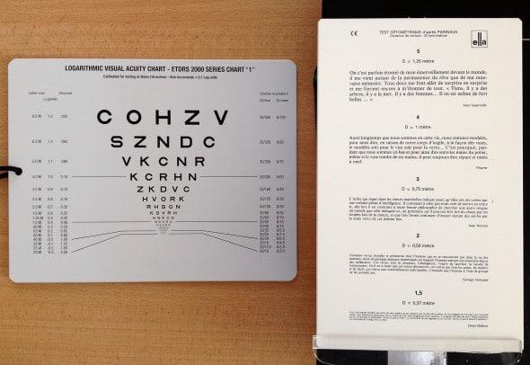 exemple de planche  de Parinaud et de planche d'acuité visuelle logarithmique pour la vision de près.