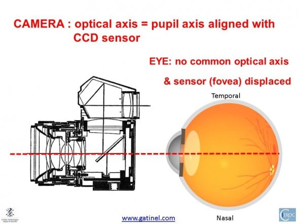 eye non centered optical system