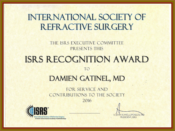 ISRS recognition award Dr Gatinel
