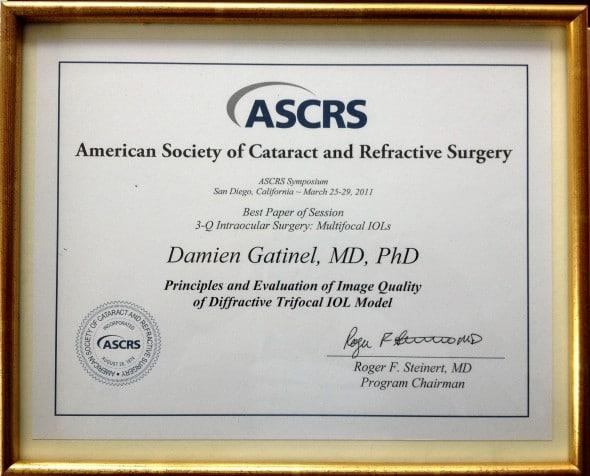 Pris ASCRS 2011 Dr Gatinel award