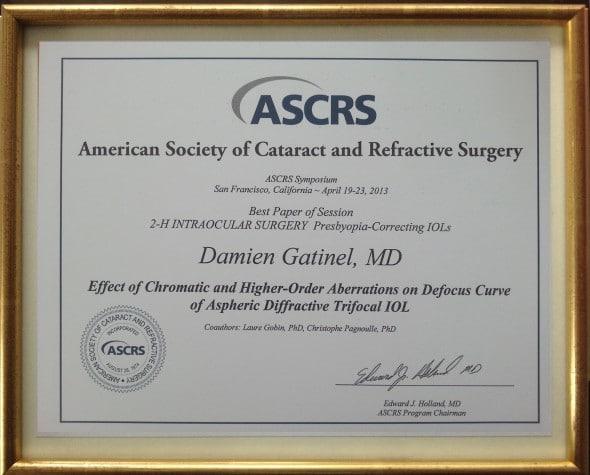 Pris ASCRS 2013.San Francisco Dr Gatinel
