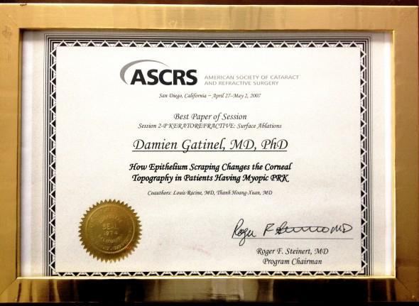 Meilleure communication orale ASCRS Dr Gatinel 2007