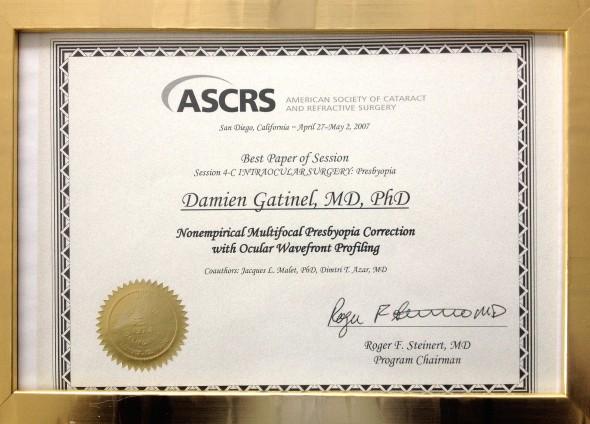 Prix ASCRS 2007 bis Dr Gatinel award