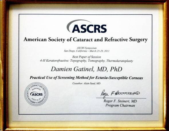 ASCRS 2011 Dr. horny Gatinel award