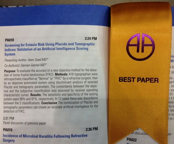 Best paper American Academy of Ophthalmology 2012