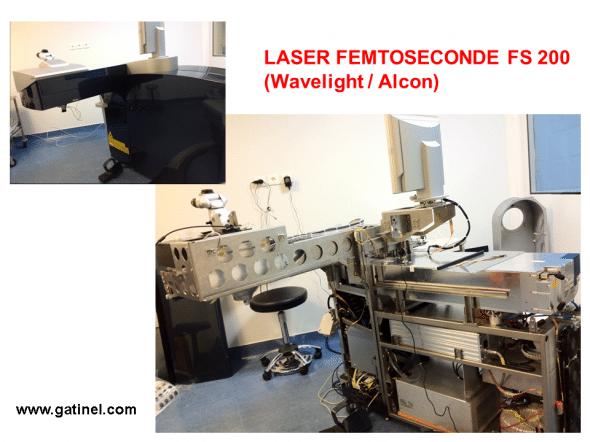 Laser femtoseconde Alcon/Wavelight FS150 avant et après retrait des coques d'habillage. La cavité laser est située à la partie supérieure de la partie principale.