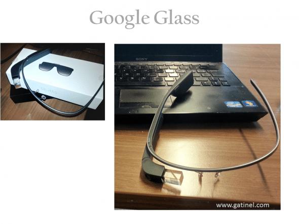Présentation des Google glass; le bloc opto-électronique est situé sur la branche droite d'une fine monture en titanium.