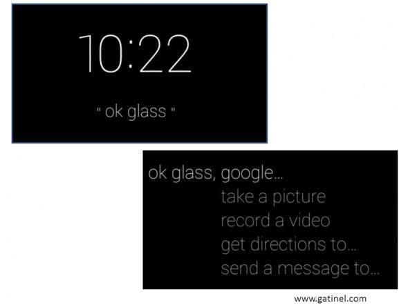 fenêtres d'affichage du menu des Google glass