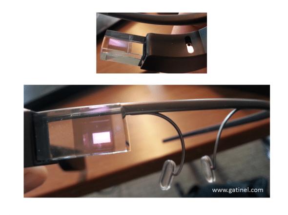 Une fois qu'elles sont allumées, il est possible d'inspecter les Google glass et saisir l'image en réflexion de l'écran d'affichage, dont l'angle apparent augmente notablement une fois la monture chaussée.