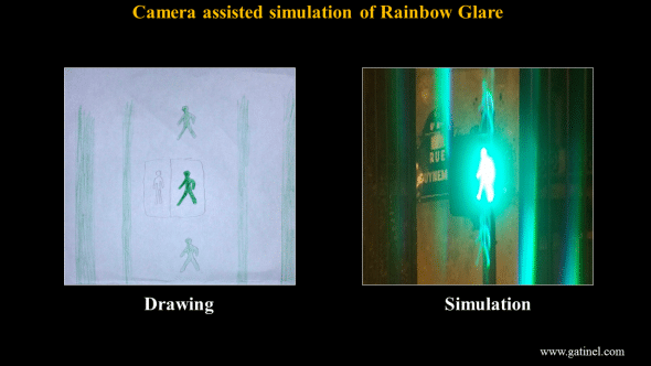 Replication of the visual symptoms depicted in a drawing by a patient affected by rainbow glare.