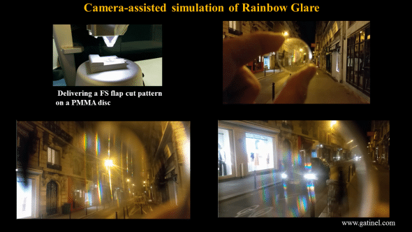 Pictures taken through the FS treated plastic disc in Paris at night time. The rainbow patterns are particularly pronounced around the cars front lights glare.