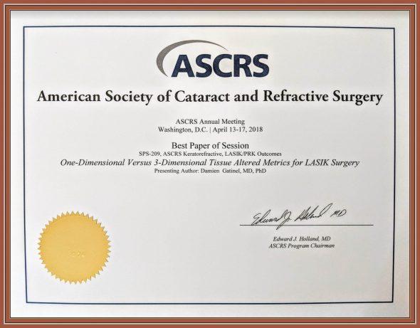 award damien gatinel ASCRS