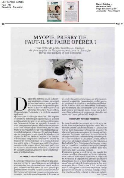 article Figaro Santé myopie Dr Damien Gatinel